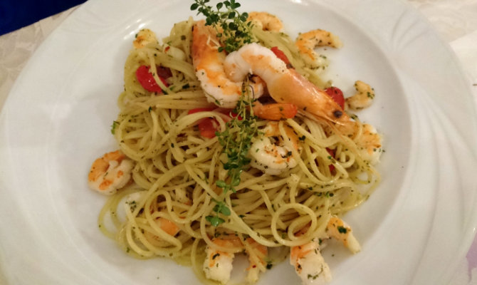 Knoblauch Spaghetti mit Gambas